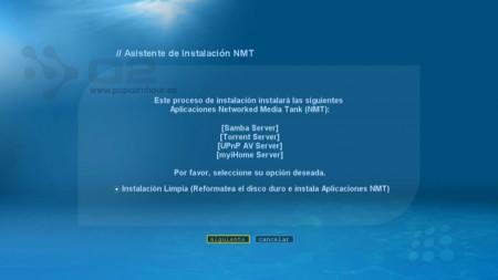 Pulsa siguiente para formatear e instalar la apliaciones NMT