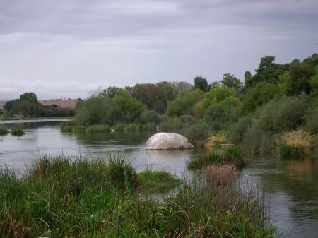 Río Tormes a su paso por Ledesma (Salamanca). Verano 2010