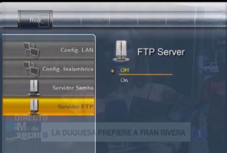 """Para activar el FTP seleccione """"on"""" y pulse Enter"""