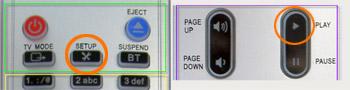 Pulsar con el mando a distancia: SETUP + PLAY
