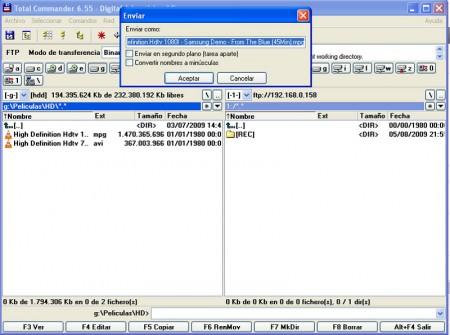 Tasa de transferencia ficheros por FTP al HMR-600W