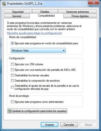 Ejecutar con compatibilidad con Windows Vista